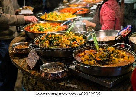 Traditional food exposed in Camden Town - stock photo