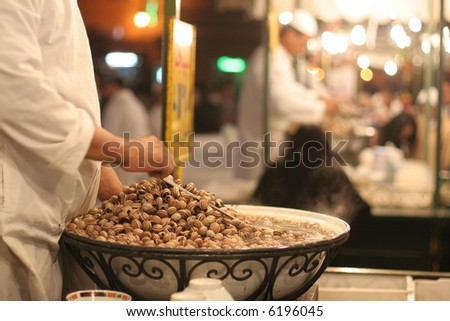 Traditional food stalls in Djemnaa el Fna square, Morocco, Marrakesh - stock photo