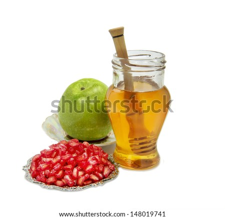 Traditional food symbols of Jewish New Year - Rosh Hashanah - stock photo