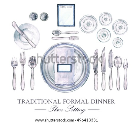 Traditional Formal Dinner Place Setting Watercolor Illustration  sc 1 st  Shutterstock & Traditional Formal Dinner Place Setting Watercolor Stock ...