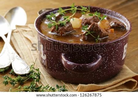 Traditional french beef goulash - Boeuf bourguignon - stock photo