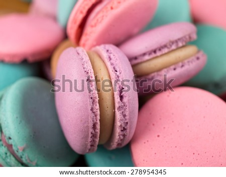 traditional french colorful macarons ; different colours ;sweet  - stock photo
