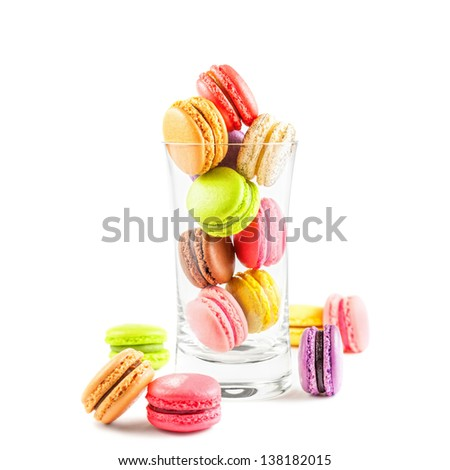 traditional french colorful macarons on white background - stock photo