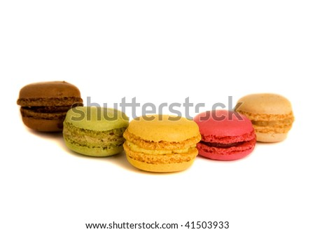 Traditional French dessert. Assortment of multicolored macaroon cookies - stock photo