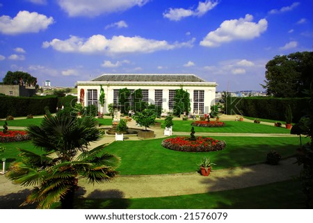 traditional french garden - stock photo