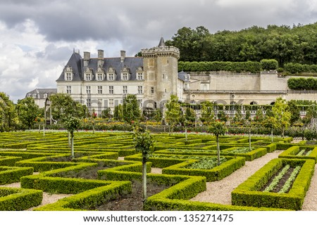 Traditional french garden. Ornamental Garden. Chateau de Villandry is a castle-palace located in Villandry, in department of Indre-et-Loire, France. He is a world known for its amazing gardens. - stock photo