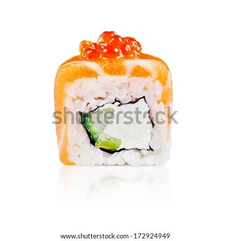 Uramaki Maki Sushi Two Rolls Isolated Stock Photo