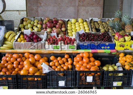 Traditional fruit shop. Fresh fruits in a fruit shop