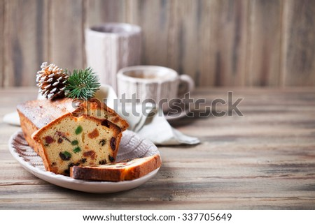 Traditional fruitcake for Christmas, selective focus - stock photo