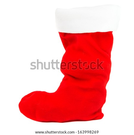 Traditional fur red Christmas stocking. Isolated on white.