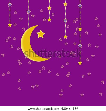 Traditional garland of Ramadan Kareem .Holy month of muslim community.Hand drawing hanging arabic star and moon .