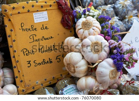 Traditional garlic and herb spices from Aix en Provence market, South France - stock photo