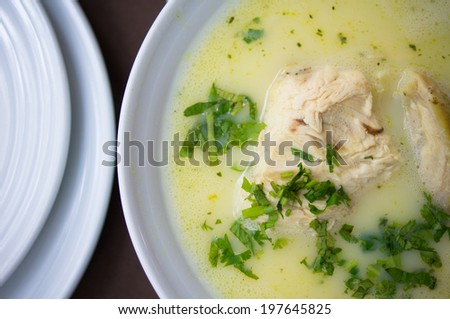 Traditional georgian chicken soup - chikhirtma in the soup plate - stock photo