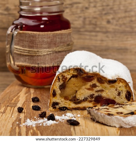 Traditional German Christmas cake. Stollen. Selective focus.   - stock photo