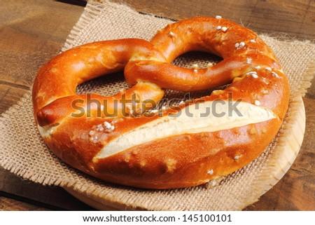 Traditional German pretzel - stock photo