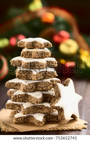 Traditional German Zimtsterne (cinnamon Stars) Christmas Cookies Made Of  Ground Almonds, Cinnamon,