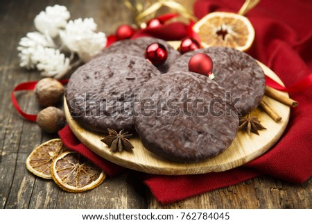 Traditional gingerbread from Nuremberg, covered with chocolate