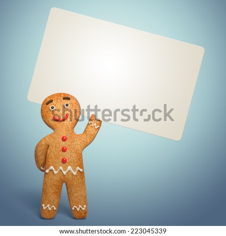 traditional gingerbread man holding banner illustration, 3d cookie cartoon character - stock photo
