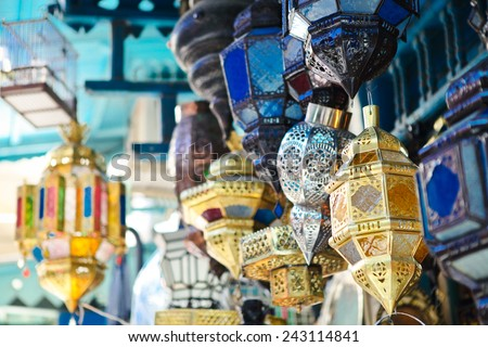 Traditional glass and metal lamps in shop in the medina of Tunis,Tunisia - stock photo