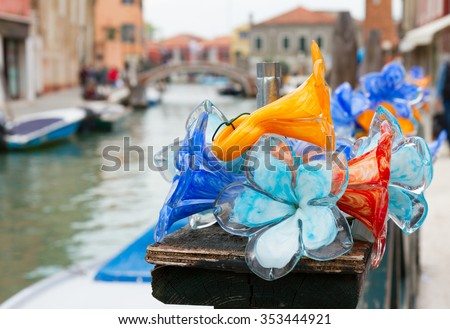 traditional glass in old town of Murano island, Venice, Italy - stock photo