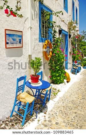 traditional Greece series - street  tavernas - stock photo