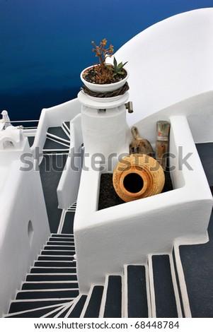 Traditional greek architecture in Firostefani village, Santorini - stock photo