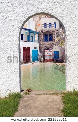 Traditional Greek architecture on Milos island - stock photo