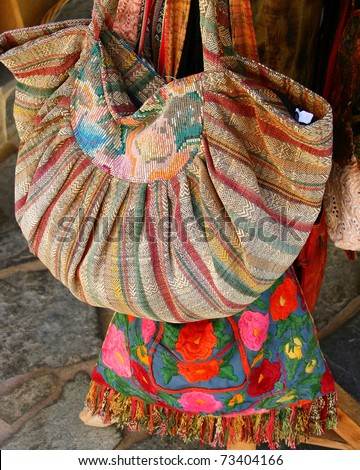 Traditional greek bags in small market in Crete, Greece - stock photo
