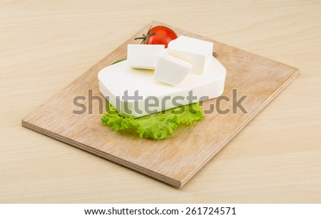 Traditional Greek Feta cheese with salad leaves - stock photo