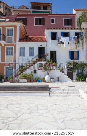 Traditional Greek house at beautiful Parga - stock photo