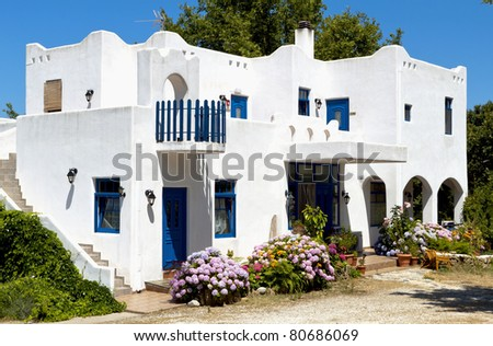 Traditional greek house at Samothraki island in Greece - stock photo