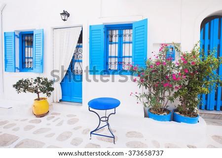 Traditional Greek House traditional greek house facade greece stock photo 373658737