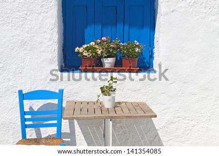 Traditional greek house from the Cyclades islands - stock photo
