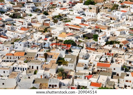 Traditional greek houses in Lindos (Rhodes)