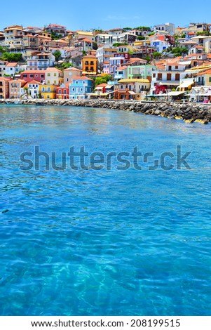 Traditional Greek houses in Parga, Greece. - stock photo