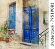 traditional Greek streets -artwork in painting style - stock photo