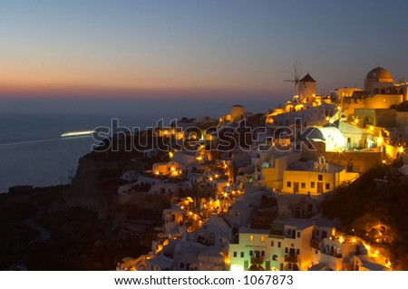 Traditional greek village, Oia, Santorini 3 - stock photo