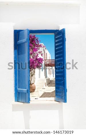 Traditional greek window on Sifnos island, Greece - stock photo