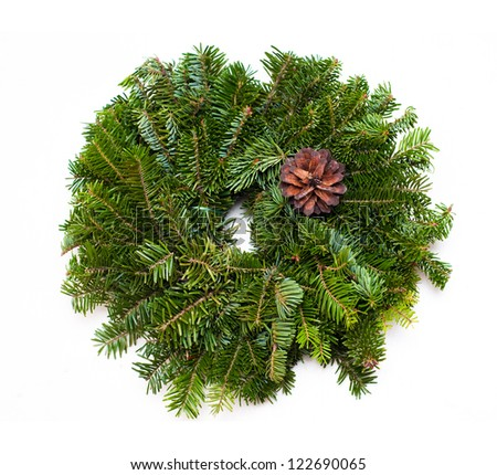 Traditional green christmas wreath - stock photo