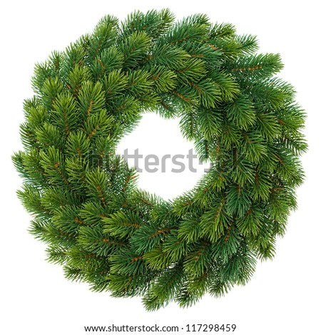 traditional green christmas wreath isolated on white background. festive decoration - stock photo