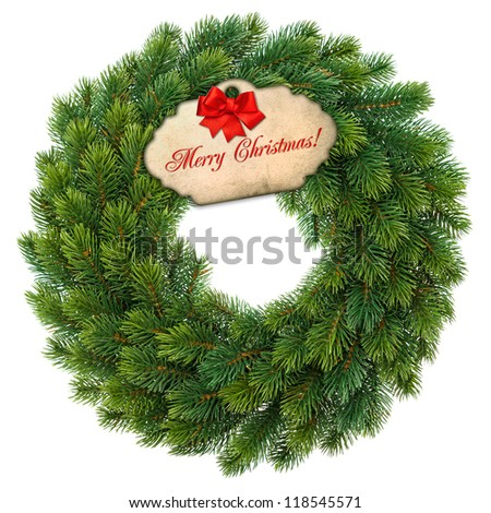 traditional green christmas wreath with gift tag and red ribbon bow isolated on white background. festive decoration - stock photo