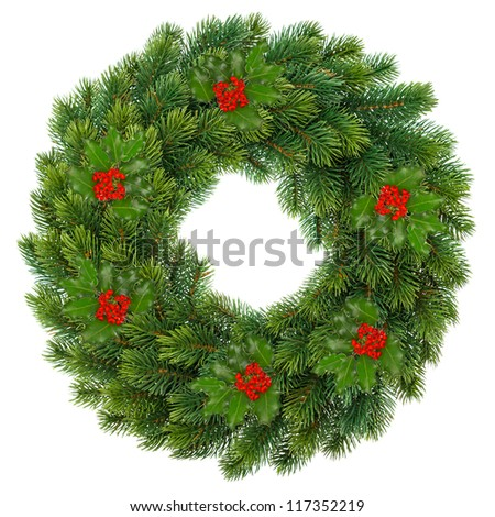 traditional green christmas wreath with holly berry isolated on white background. festive decoration - stock photo