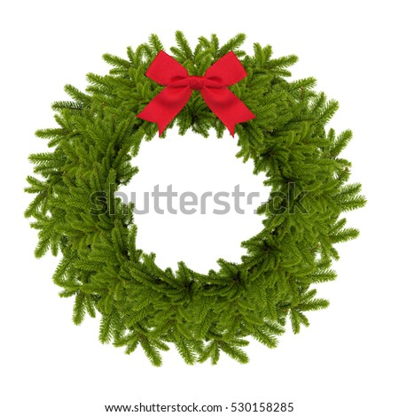 traditional green christmas wreath with red bow isolated on white background. festive decoration