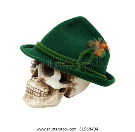 Traditional green felt German alpine hat with rope twists and bright feathers on a skull - path included - stock photo
