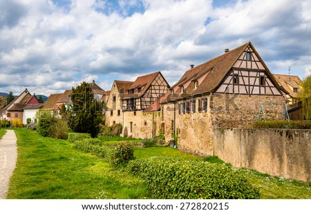 Traditional half-timbered houses in Bergheim - Alsace, France - stock photo