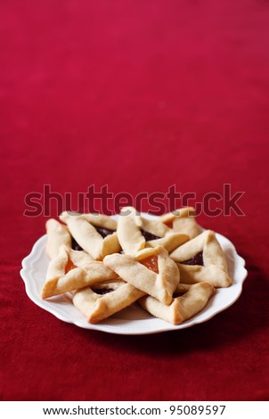 Traditional Hamantaschen cookies for the Jewish festival of Purim