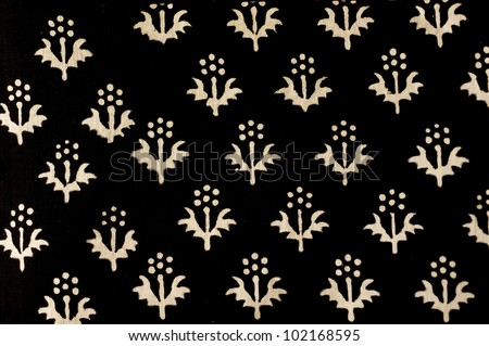 Traditional hand printed Indian fabric with floral design