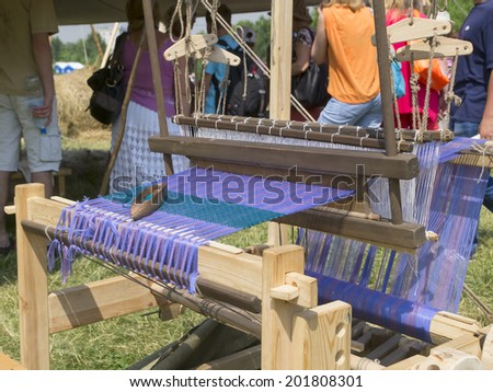Traditional hand weaving in Russia (workshop, Moscow) - stock photo