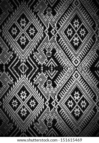 Traditional hand-woven fabrics in Thai pattern design - stock photo