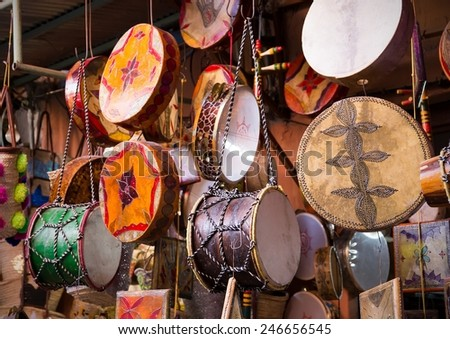 Traditional handmade drums somewhere in Marrakesh, Morocco - stock photo